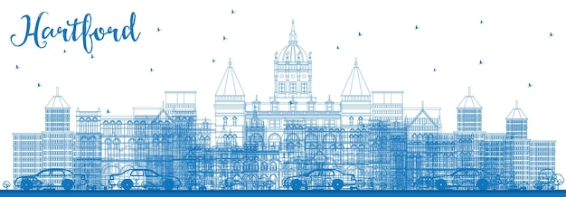 Overzicht hartford skyline met blauwe gebouwen. vectorillustratie. zakelijk reizen en toerisme concept met historische architectuur. afbeelding voor presentatiebanner plakkaat en website.