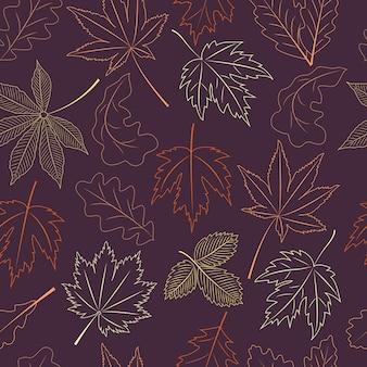 Overzicht herfstbladeren naadloze patroon. contour herfst seizoen vector achtergrond