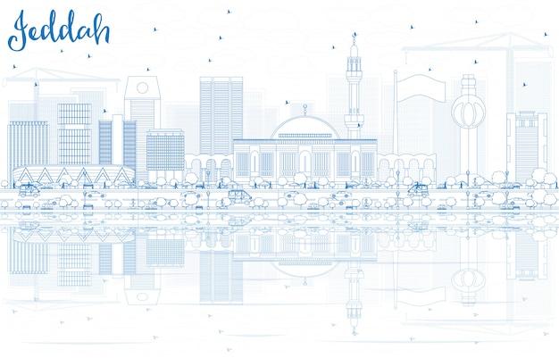 Overzicht jeddah skyline met blauwe gebouwen en reflecties.