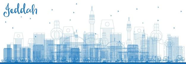 Overzicht jeddah skyline met blauwe gebouwen. vectorillustratie. zakelijk reizen en toerisme concept met moderne gebouwen. afbeelding voor presentatiebanner plakkaat en website.