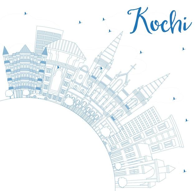 Overzicht kochi india city skyline met blauwe gebouwen en kopie ruimte. vectorillustratie. zakelijk reizen en toerisme concept met historische architectuur. kochi stadsgezicht met monumenten.