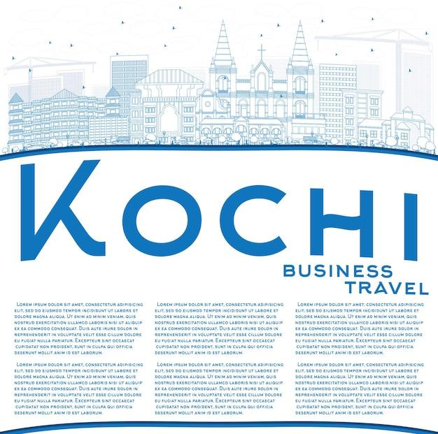 Overzicht kochi skyline met blauwe gebouwen en kopie ruimte. vectorillustratie. zakelijk reizen en toerisme concept met historische architectuur. afbeelding voor presentatiebanner plakkaat en website.