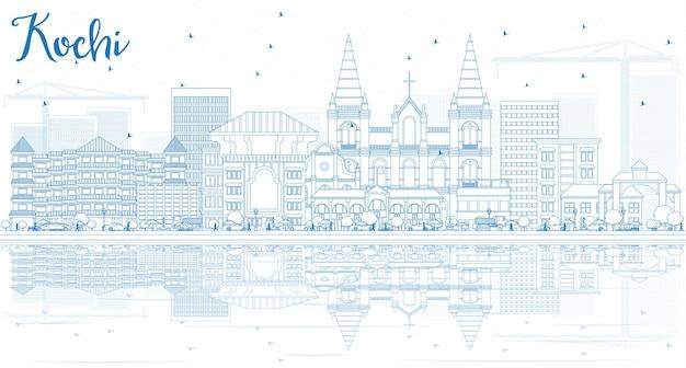 Overzicht kochi skyline met blauwe gebouwen en reflecties. vectorillustratie. zakelijk reizen en toerisme concept met historische architectuur. afbeelding voor presentatiebanner plakkaat en website.