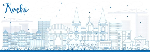 Overzicht kochi skyline met blauwe gebouwen. vectorillustratie. zakelijk reizen en toerisme concept met historische architectuur. afbeelding voor presentatiebanner plakkaat en website.