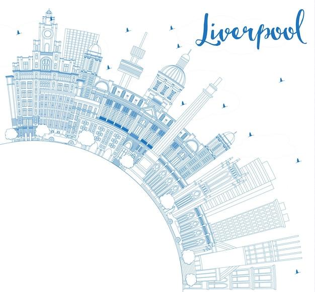 Overzicht liverpool engeland skyline met blauwe gebouwen en kopie ruimte. vectorillustratie. zakelijk reizen en toerisme concept met historische architectuur. liverpool stadsgezicht met monumenten.