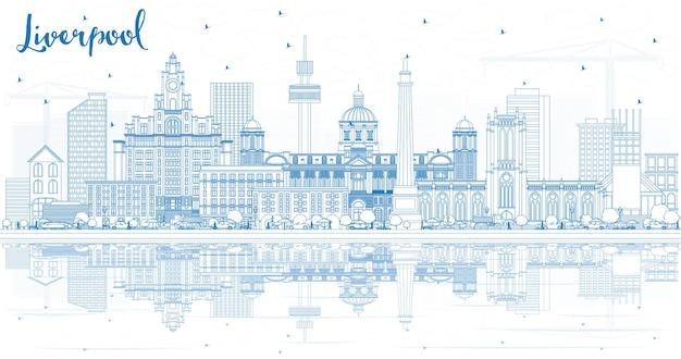 Overzicht liverpool skyline met blauwe gebouwen en reflecties. vectorillustratie. zakelijk reizen en toerisme concept met historische architectuur. liverpool stadsgezicht met monumenten.