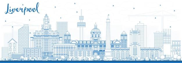 Overzicht liverpool skyline met blauwe gebouwen. vectorillustratie. zakelijk reizen en toerisme concept met historische architectuur. liverpool stadsgezicht met monumenten.