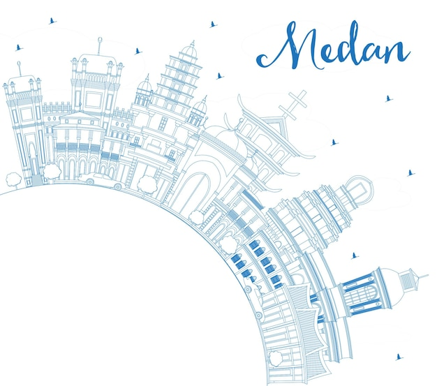 Overzicht medan indonesië city skyline met blauwe gebouwen en kopie ruimte. vectorillustratie. zakelijk reizen en toerisme concept met historische architectuur. medan stadsgezicht met monumenten.