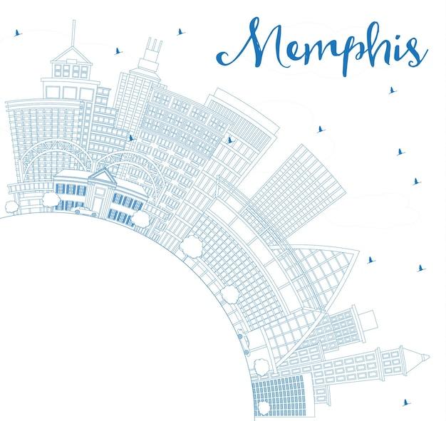 Overzicht memphis usa city skyline met blauwe gebouwen en kopie ruimte. vectorillustratie. zakelijk reizen en toerisme concept met historische architectuur. memphis stadsgezicht met monumenten.