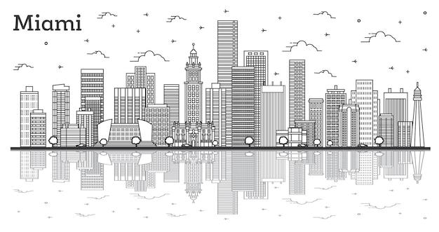 Overzicht miami florida city skyline met moderne gebouwen en reflecties geïsoleerd op wit. vectorillustratie. miami usa stadsgezicht met monumenten.