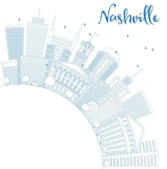 Overzicht nashville skyline met blauwe gebouwen en kopie ruimte. vectorillustratie. zakelijk reizen en toerisme concept met moderne architectuur. afbeelding voor presentatiebanner plakkaat en website.