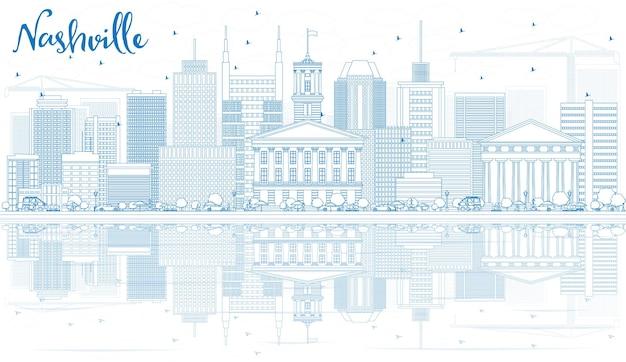 Overzicht nashville skyline met blauwe gebouwen en reflecties. vectorillustratie. zakelijk reizen en toerisme concept met moderne architectuur. afbeelding voor presentatiebanner plakkaat en website.