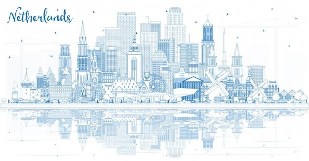 Overzicht nederland skyline met blauwe gebouwen. vectorillustratie. toerismeconcept met historische architectuur. stadsgezicht met monumenten. amsterdam. rotterdam. den haag. utrecht.