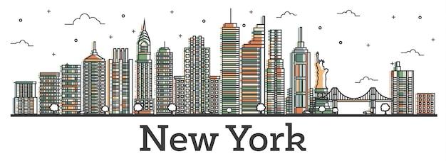 Overzicht new york usa city skyline met kleur gebouwen geïsoleerd op wit. vectorillustratie. new york cityscape met monumenten. Premium Vector