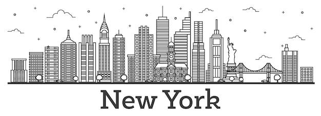 Overzicht new york usa city skyline met moderne gebouwen geïsoleerd op wit. vectorillustratie. new york cityscape met monumenten. Premium Vector