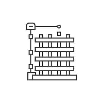 Overzicht nieuw gebouw icoon. concept van vooruitgang, wederopbouw, engineering project, onroerend goed, nieuwbouw. geïsoleerd op een witte achtergrond. dunne lijn stijl trend moderne logo ontwerp vectorillustratie