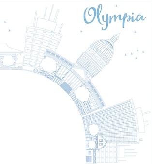 Overzicht olympia (washington) skyline met blauwe gebouwen