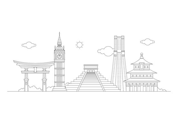 Overzicht oriëntatiepunten skyline van azië tot europa