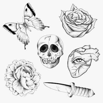 Overzicht oude school flash zwart-wit tattoo ontwerpset