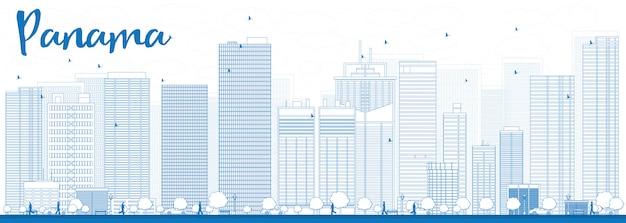 Overzicht panama city skyline met blauwe wolkenkrabbers
