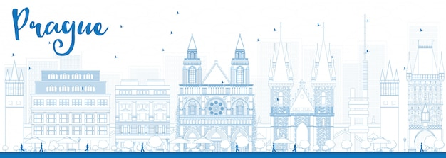 Overzicht praag skyline met blauwe monumenten