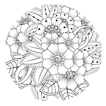 Overzicht rond bloemenpatroon in mehndi-stijl voor het kleuren van de doodle-ornament van de boekpagina page