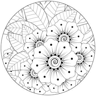Overzicht ronde bloemenpatroon in mehndi stijl voor het kleuren van de boekpagina doodle ornament in zwart-wit hand tekenen illustratie hand
