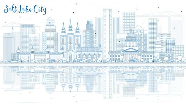 Overzicht salt lake city skyline met blauwe gebouwen en reflecties vectorillustratie