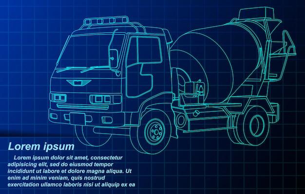 Overzicht schets cement vrachtwagen op blauwdruk.