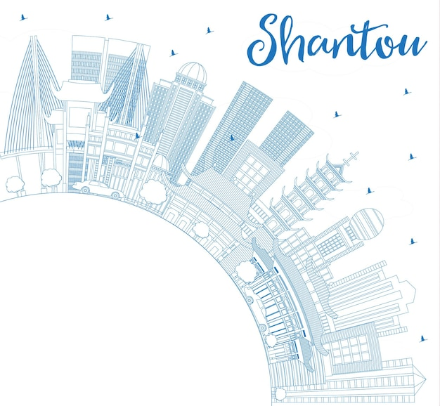 Overzicht shantou china city skyline met blauwe gebouwen en kopie ruimte. vectorillustratie. zakelijk reizen en toerisme concept met moderne architectuur. shantou stadsgezicht met monumenten.