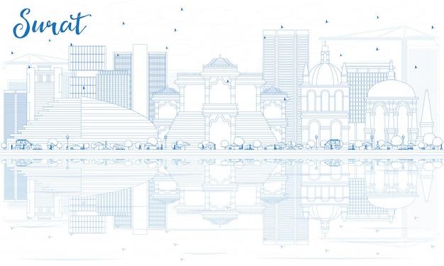 Overzicht surat skyline met blauwe gebouwen en reflecties.