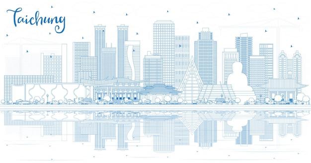 Overzicht taichung taiwan city skyline met blauwe gebouwen en reflecties. vectorillustratie. zakelijk reizen en toerisme concept met historische architectuur. taichung china stadsgezicht met monumenten.
