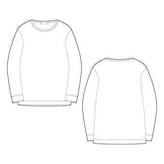 Overzicht technische schets sweatshirt geïsoleerd op een witte achtergrond