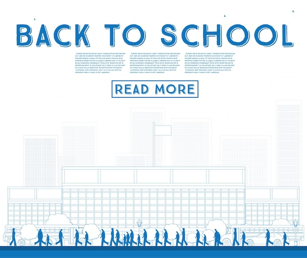 Overzicht terug naar school. banner met schoolbus, gebouw en studenten. vectorillustratie.