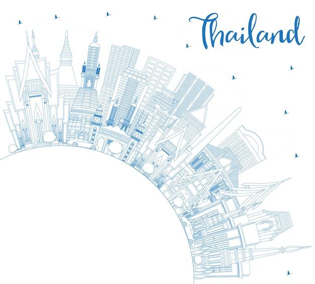 Overzicht thailand city skyline met blauwe gebouwen en kopie ruimte. vectorillustratie. toerismeconcept met historische architectuur. thailand stadsgezicht met monumenten.