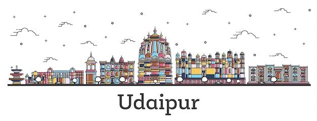Overzicht udaipur india city skyline met kleur gebouwen geïsoleerd op wit. vectorillustratie. udaipur stadsgezicht met monumenten.