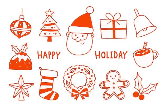 Overzicht van de kerstman met seizoenselementen. vakantie-elementen instellen