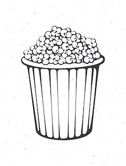 Overzicht van emmer vol popcorn gestreepte papieren beker met junksnack vectorillustratie