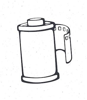 Overzicht van fotofilm in cartridge vectorillustratie fotografische rolfilm handgetekende schets