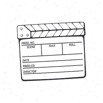 Overzicht van gesloten filmklapper die in de bioscoop wordt gebruikt bij het opnemen van een film vectorillustratie