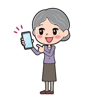 Overzicht van oma wijzend op smartphone