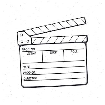 Overzicht van open filmklapper die in de bioscoop wordt gebruikt bij het opnemen van een film vectorillustratie