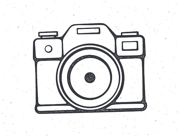 Overzicht van retro fotocamera modern digitaal apparaat met lens vectorillustratie hand getrokken