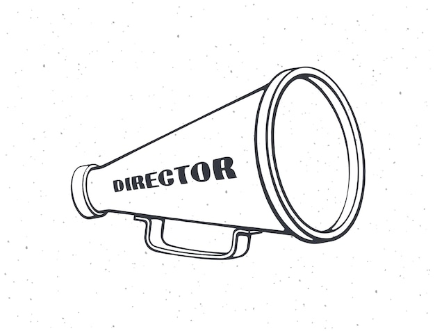 Overzicht van retro megafoon met woorddirecteur vintage handluidspreker vectorillustratie