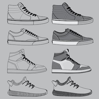 Overzicht van schoenen ingesteld