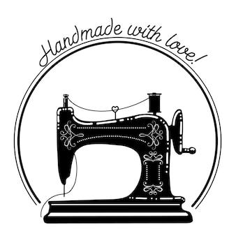 Overzicht victoriaanse naaimachine versierd