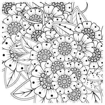 Overzicht vierkant bloemenpatroon in mehndi-stijl voor het kleuren van de boekpagina