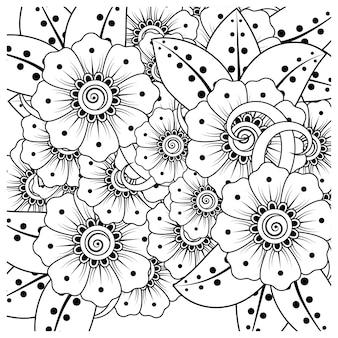 Overzicht vierkant bloemenpatroon in mehndi-stijl voor het kleuren van de doodle-ornament van de boekpagina page