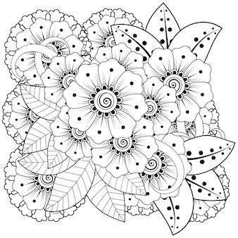 Overzicht vierkant bloemmotief in mehndi-stijl. doodle ornament in zwart en wit. hand tekenen illustratie.