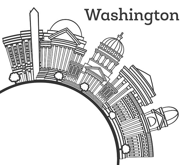 Overzicht washington dc usa city skyline met moderne gebouwen en kopie ruimte geïsoleerd op wit. vectorillustratie. washington dc stadsgezicht met monumenten.
